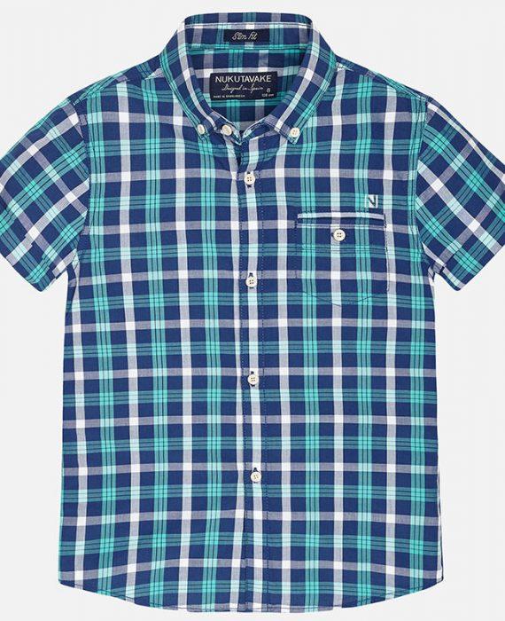 Camisa manga curta de menina de quadrados