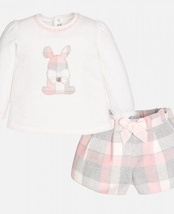 Conjunto para bebé menina de calção e camisola manga comprida