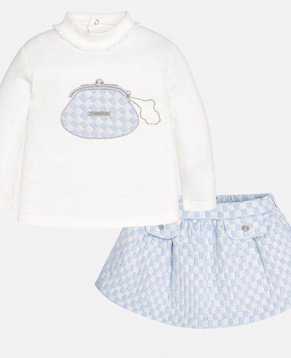 Conjunto de bebé menina com saia