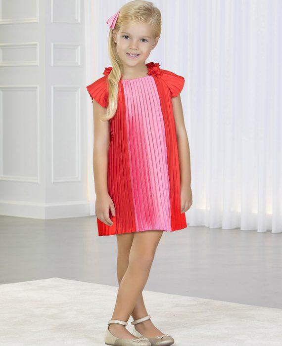 Vestido plissado bicolor