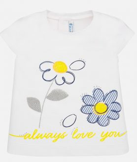 Camisola manga curta flores bebé menina