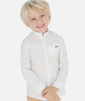 Camisa branca manga comprida gola mao menino