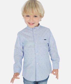 Camisa manga comprida gola mao menino